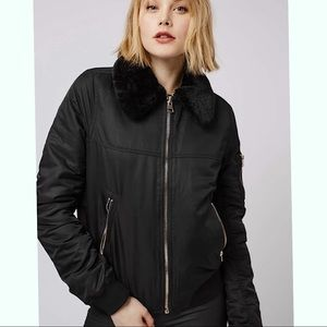 Topshop faux fur Ma1 bomber jacket